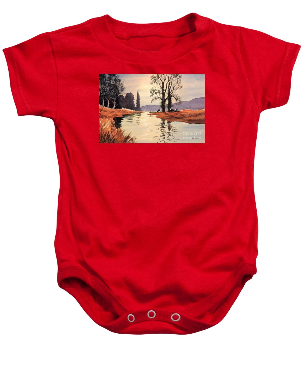 River Chess Baby Onesie featuring the painting Sunlit River - Chess At Latimer by Bill Holkham