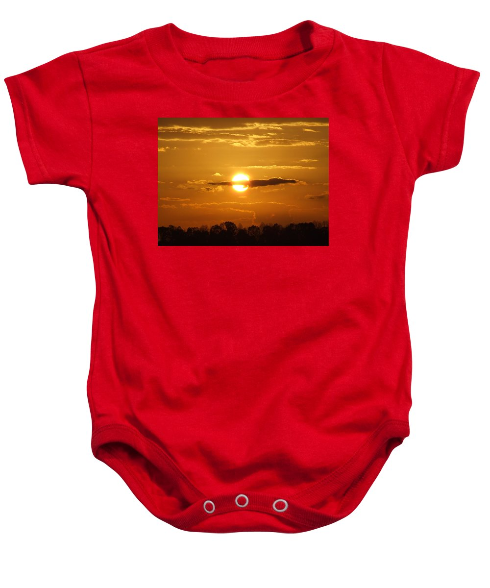 Sunrise Baby Onesie featuring the photograph Sunset Bear by Reid Callaway