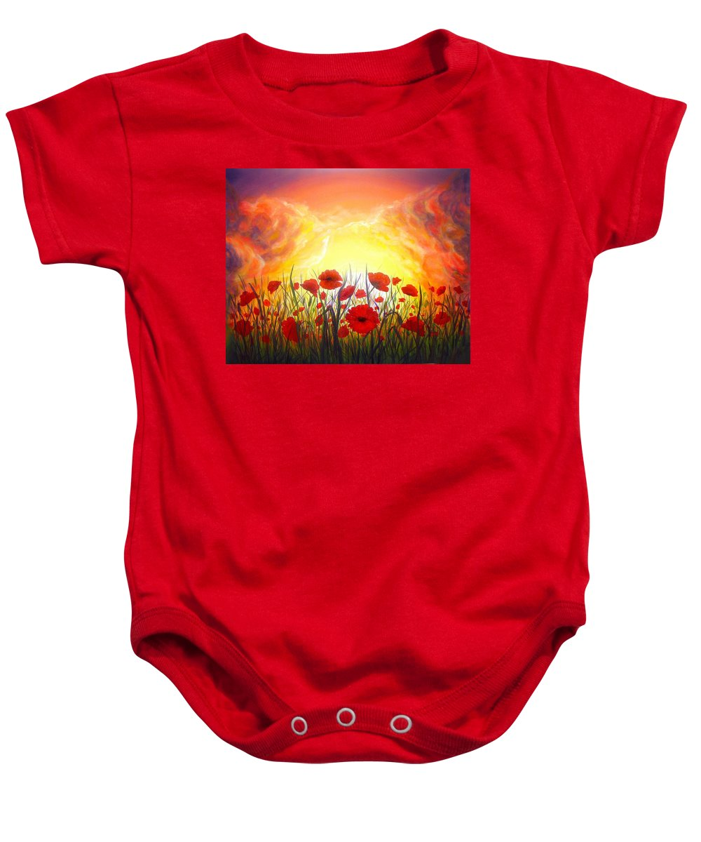 Original Art Baby Onesie featuring the painting Sunset Poppies by Lilia D