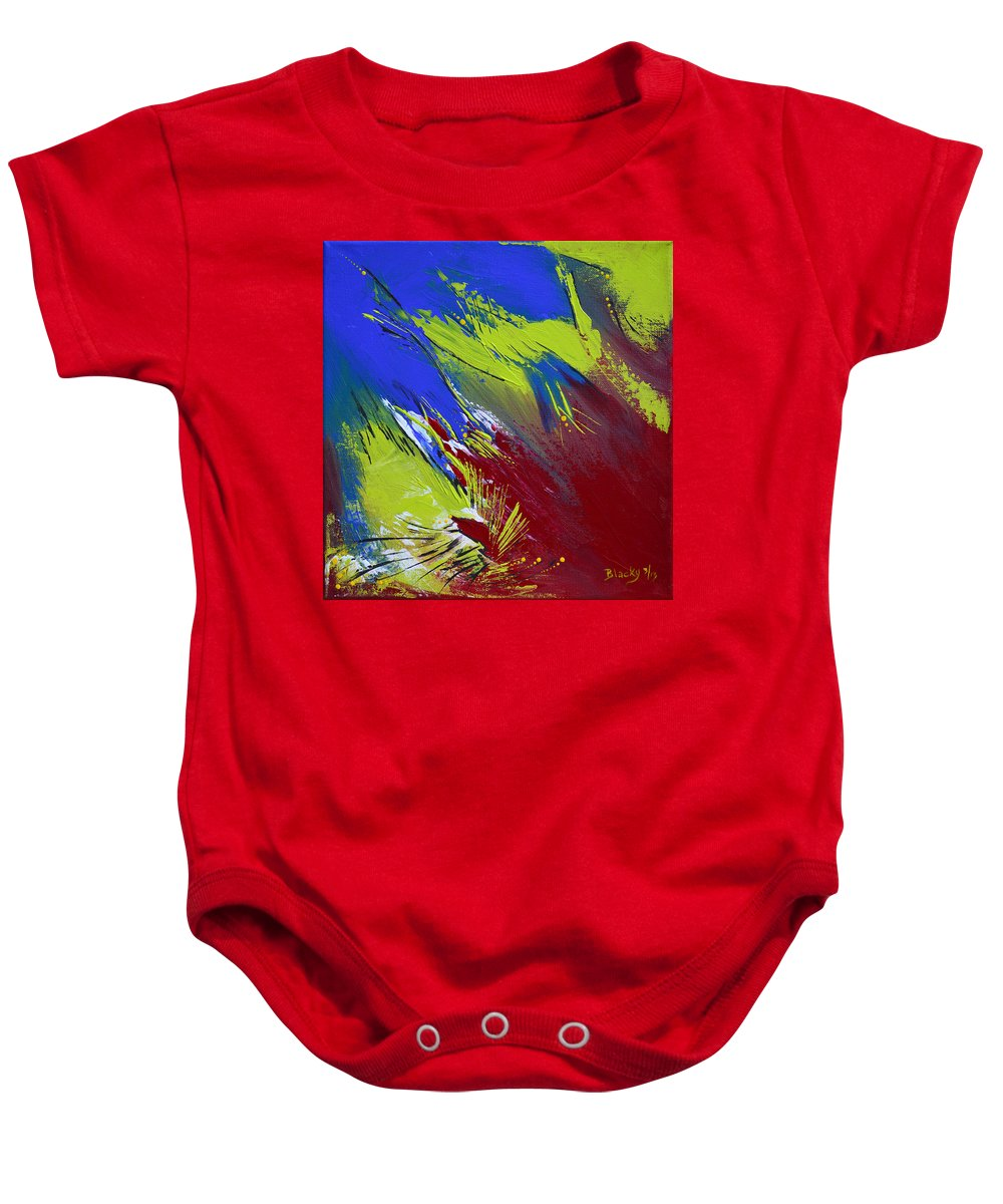 Bold Abstract Art Baby Onesie featuring the painting Taking Flight by Donna Blackhall