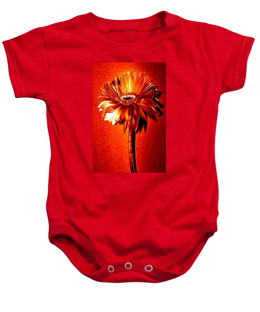 Original Photo Baby Onesie featuring the photograph Tequila Sunrise Zinnia by Sherry Allen