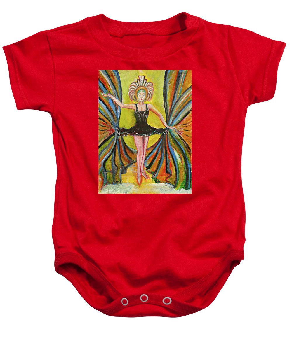 Ballet Baby Onesie featuring the painting The Black Tutu by Tom Conway