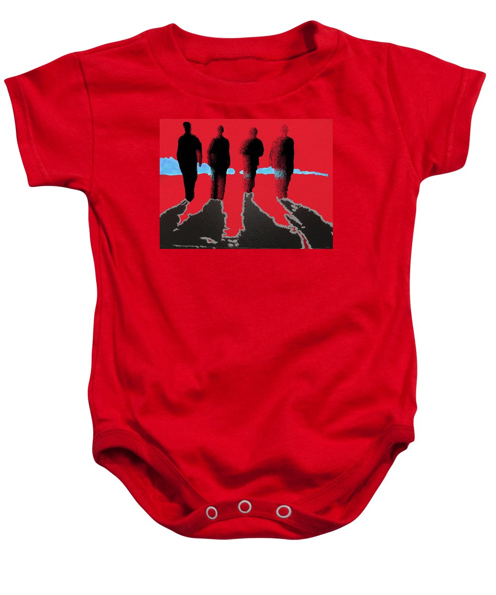 Four Friends Walking Baby Onesie featuring the painting The Boys Awalking by Robert Margetts