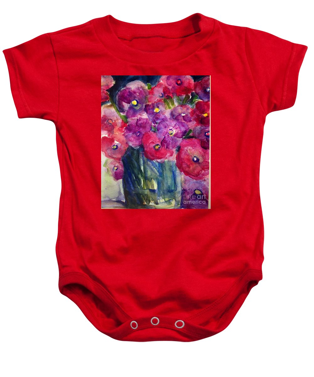 Flowers Baby Onesie featuring the painting The Happy Bunch by Sherry Harradence