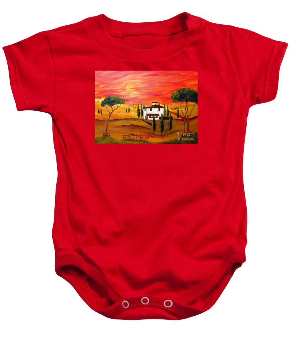 Tuscan Baby Onesie featuring the painting The Heat Of Tuscany by Christine Huwer