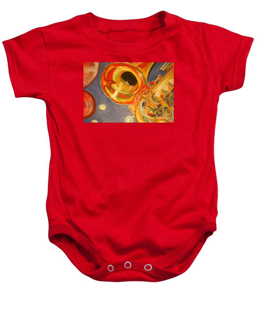 Wind Instrument Baby Onesie featuring the painting The Jazz Horn by Raymond Sellers