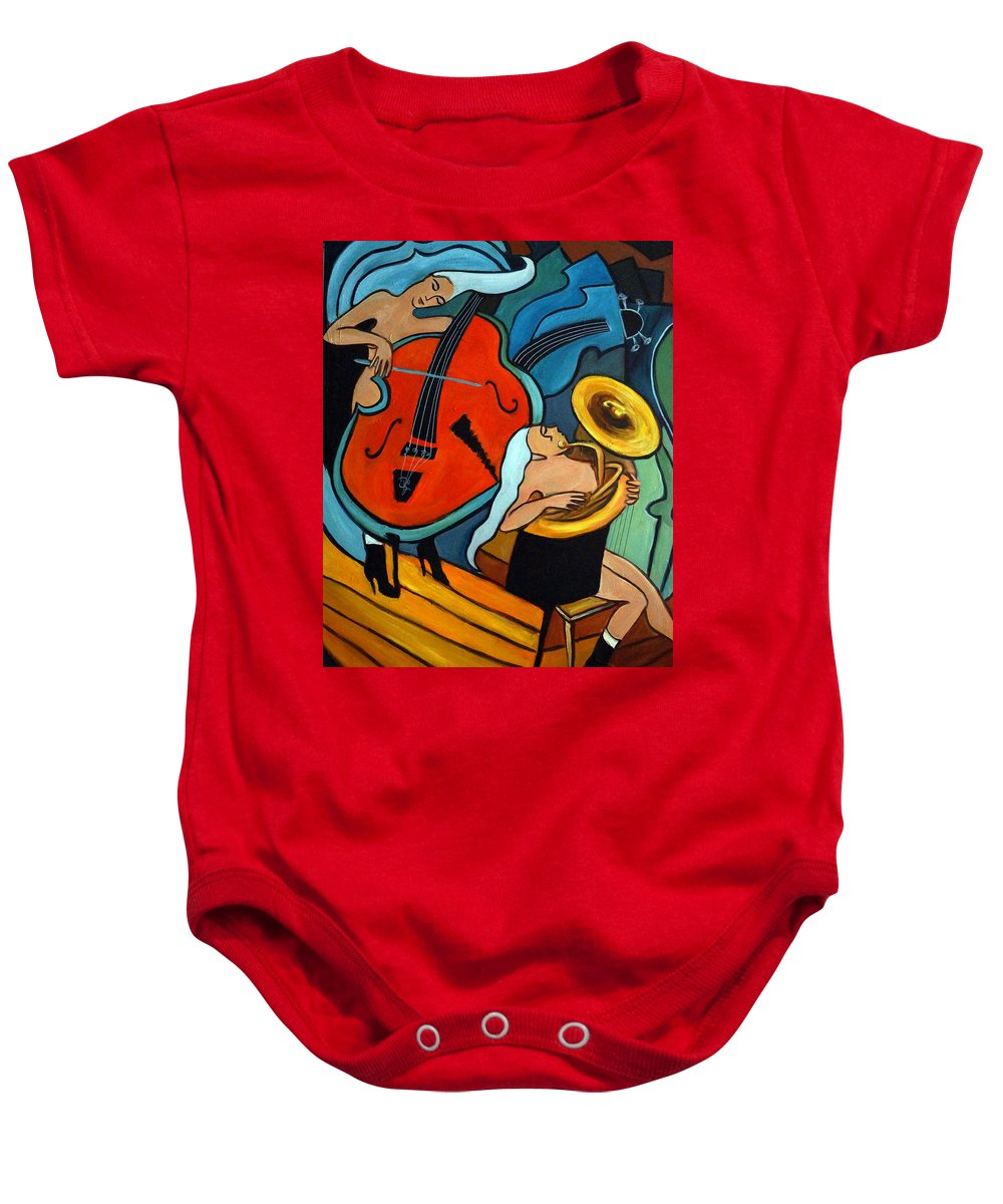 Musician Abstract Baby Onesie featuring the painting The Tuba Player by Valerie Vescovi