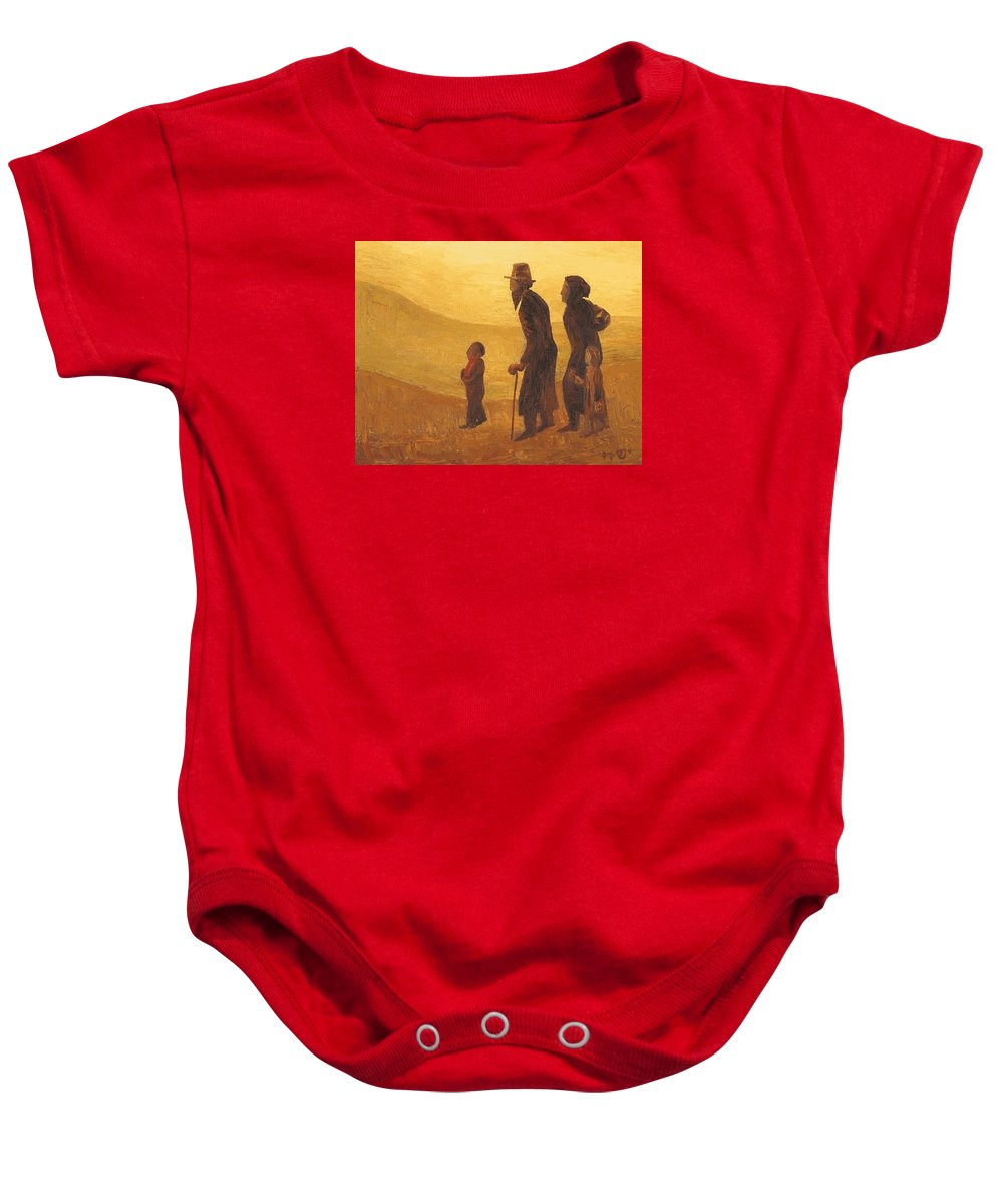 Wholesale Baby Onesie featuring the painting The Way - Aliyah by Israel Tsvaygenbaum
