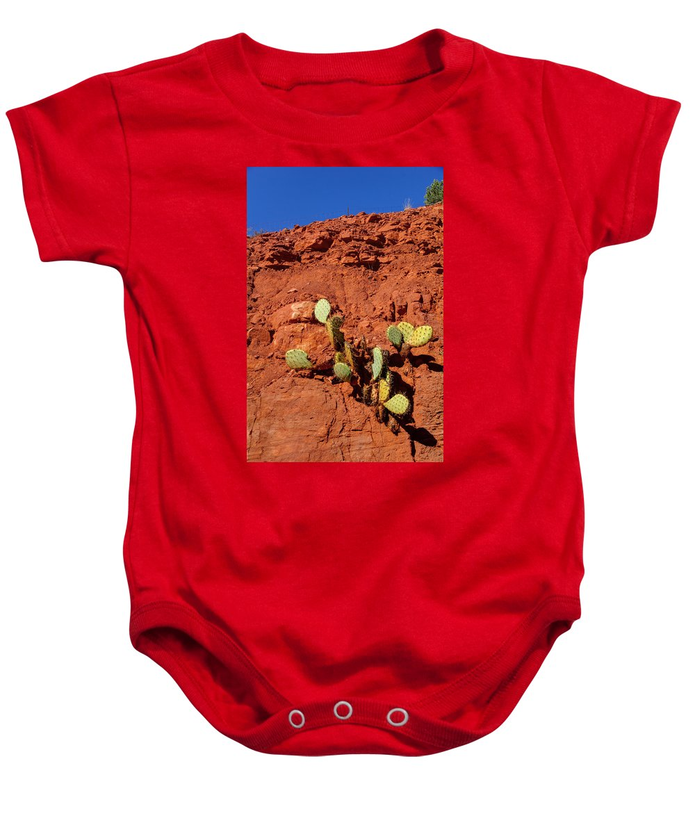 Cactus Baby Onesie featuring the photograph The Will To Live by Deb Buchanan
