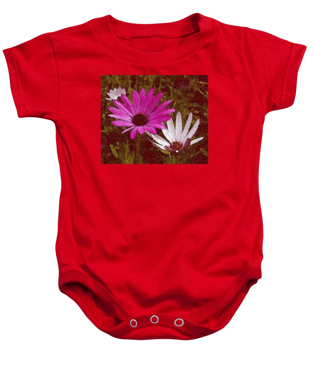 Daisies Baby Onesie featuring the photograph Three Flowers On Maroon by Ben and Raisa Gertsberg
