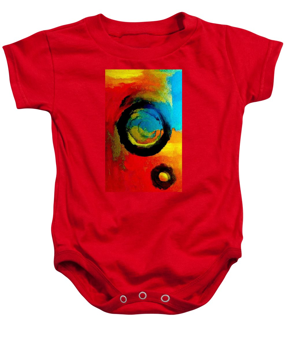Blue Baby Onesie featuring the painting Touring A Parallel Universe by Lisa Kaiser