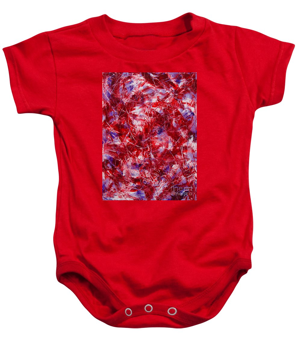 Abstract Baby Onesie featuring the painting Transitions With White Red And Violet by Dean Triolo