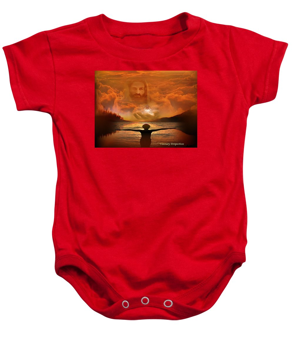 Jesus Baby Onesie featuring the digital art Treasures Of Heaven by Jewell McChesney