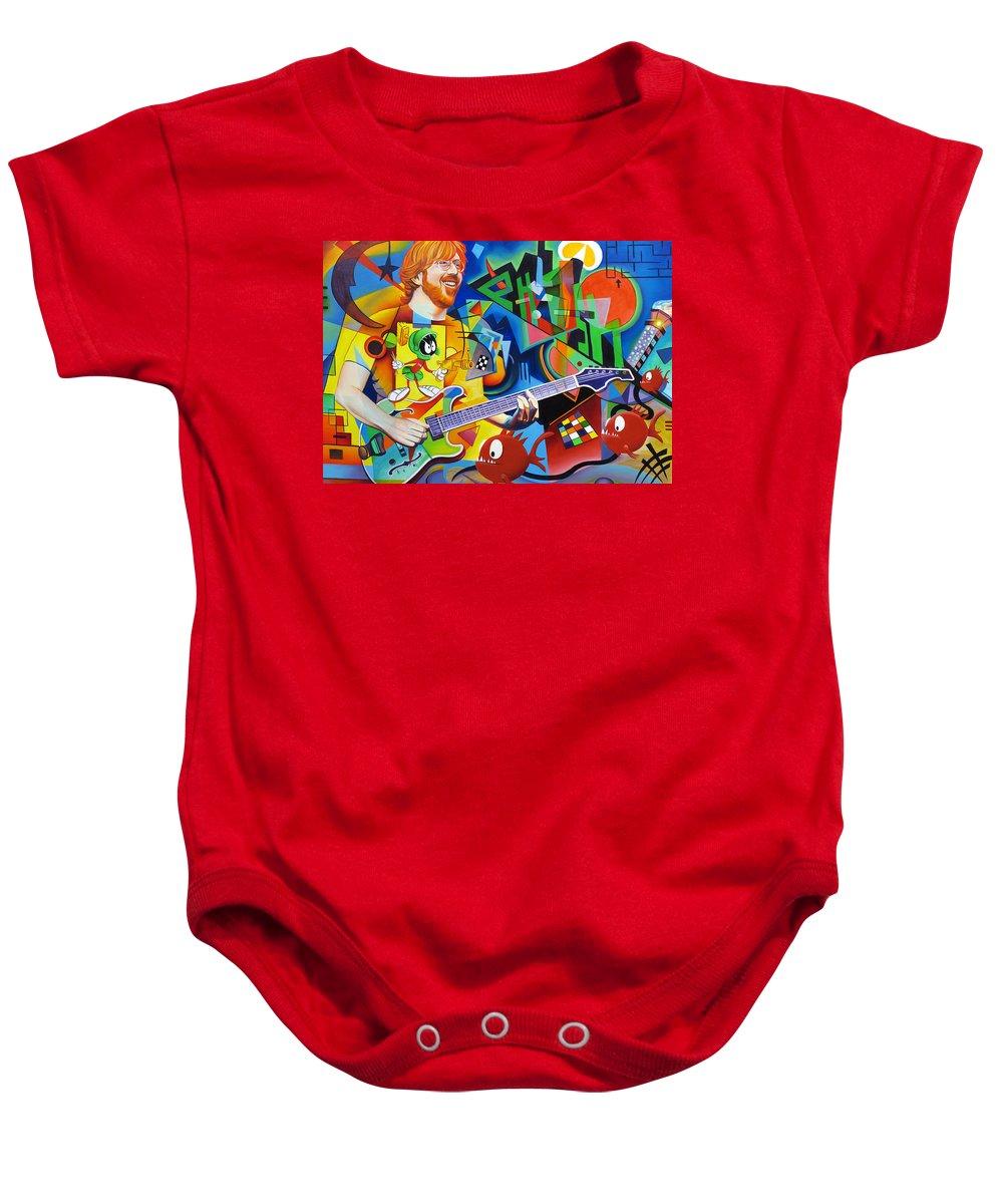 Trey Anastasio Baby Onesie featuring the painting Trey Kandinsky by Joshua Morton