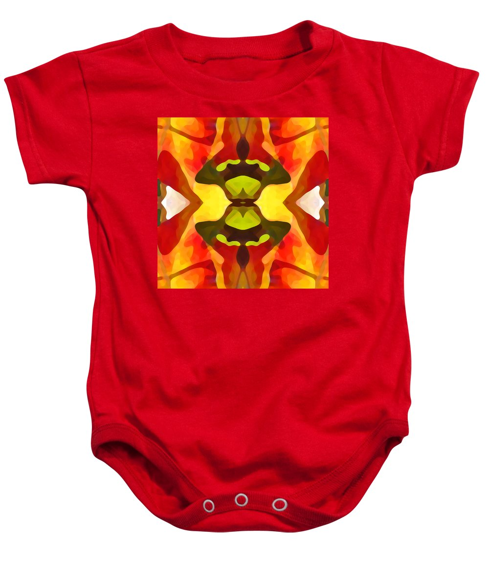 Abstract Baby Onesie featuring the painting Tropical Leaf Pattern 1 by Amy Vangsgard