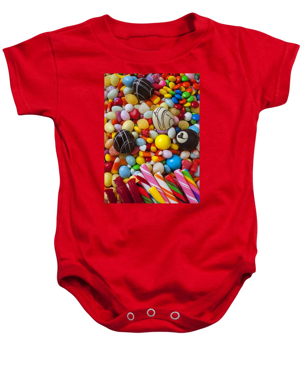 Truffle Baby Onesie featuring the photograph Truffles And Assorted Candy by Garry Gay