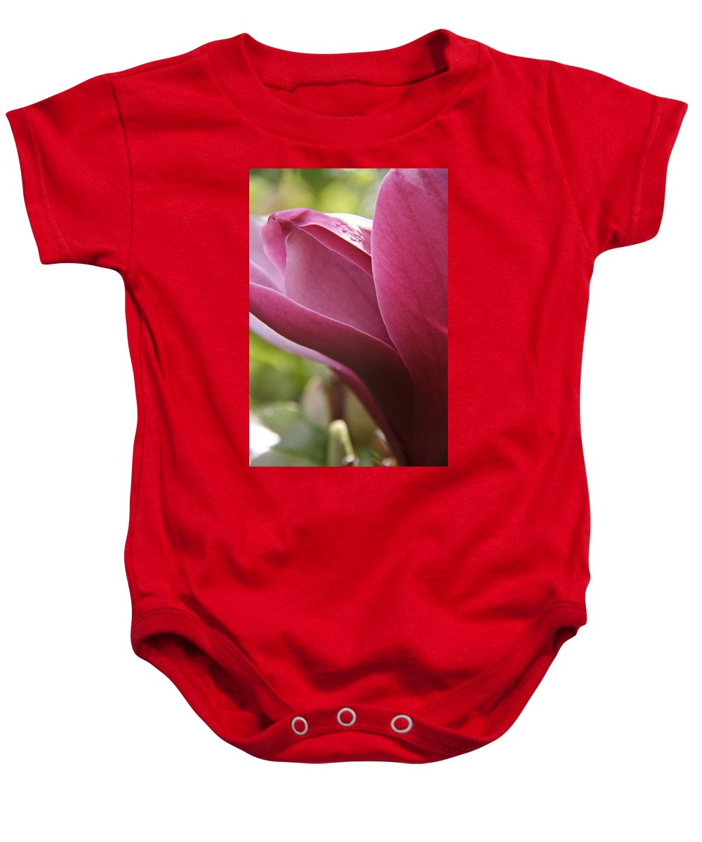 Tulip Tree Baby Onesie featuring the photograph Tulip Tree Flower With Raindrops by Elizabeth Rose