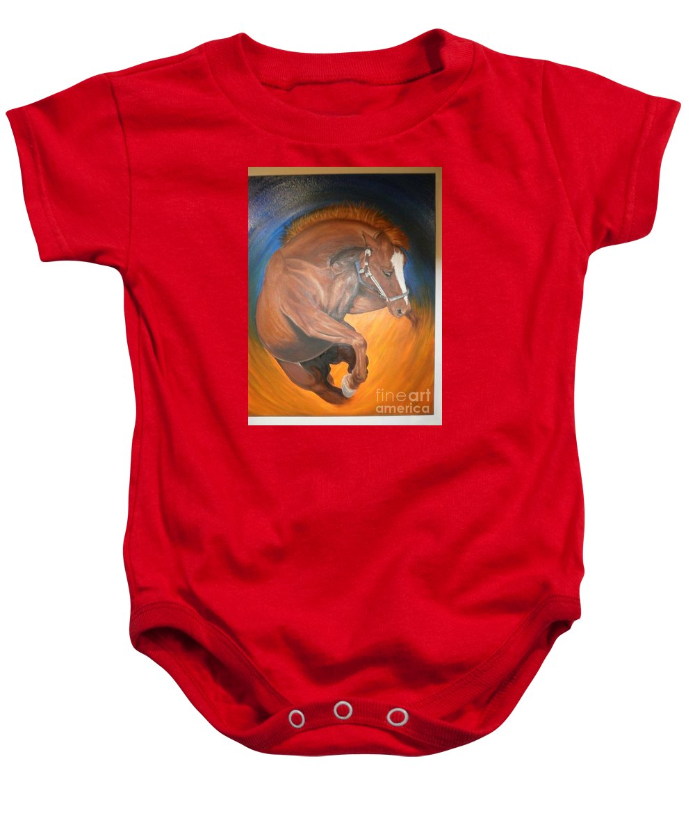 Horse Baby Onesie featuring the painting Undefeated by Dr B Lynn Tillman