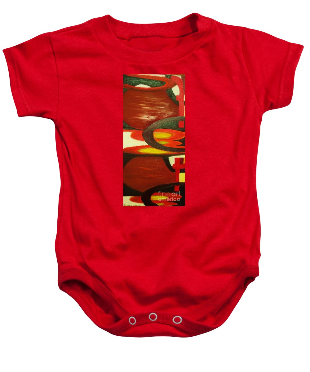 Oil Abstract Baby Onesie featuring the painting Unique I by Yael VanGruber