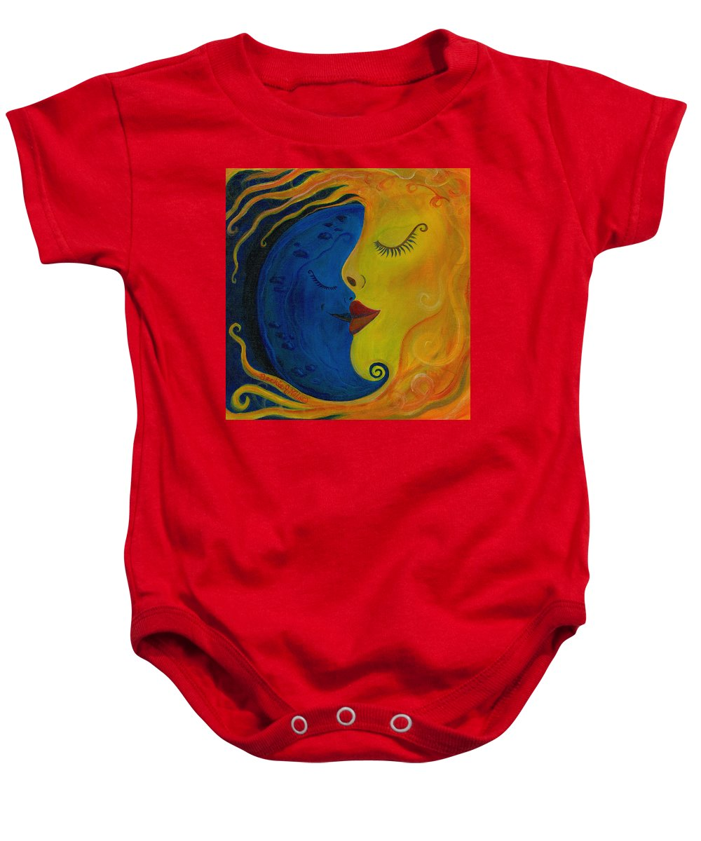 Sun And Moon Baby Onesie featuring the painting Unity by Beckie J Neff