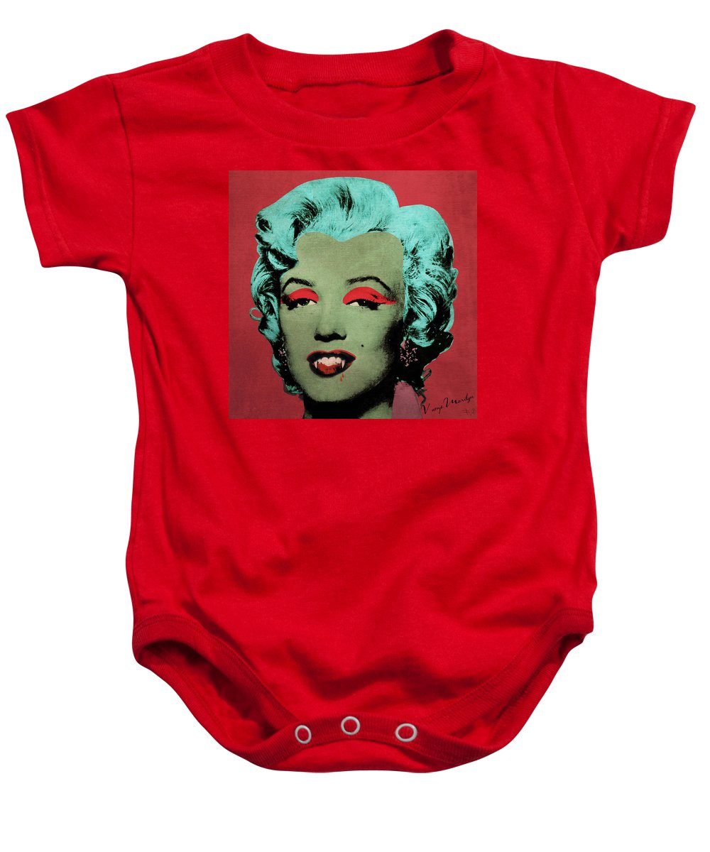 Pop Baby Onesie featuring the photograph Vampire Marilyn Variant 1 by Filippo B