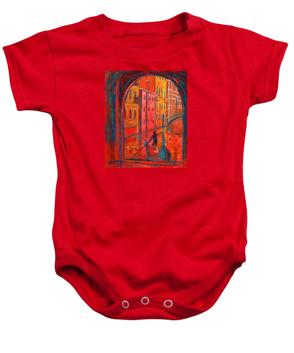Landscape Baby Onesie featuring the painting Venice Impression Viii by Xueling Zou