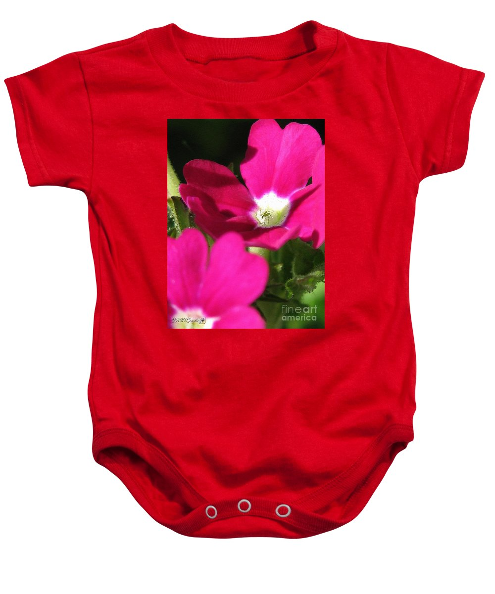 Verbena Baby Onesie featuring the painting Verbena From The Ideal Florist Mix by J McCombie