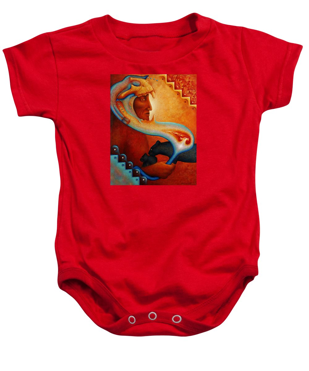 Native American Baby Onesie featuring the painting Visions Of A New Earth by Kevin Chasing Wolf Hutchins