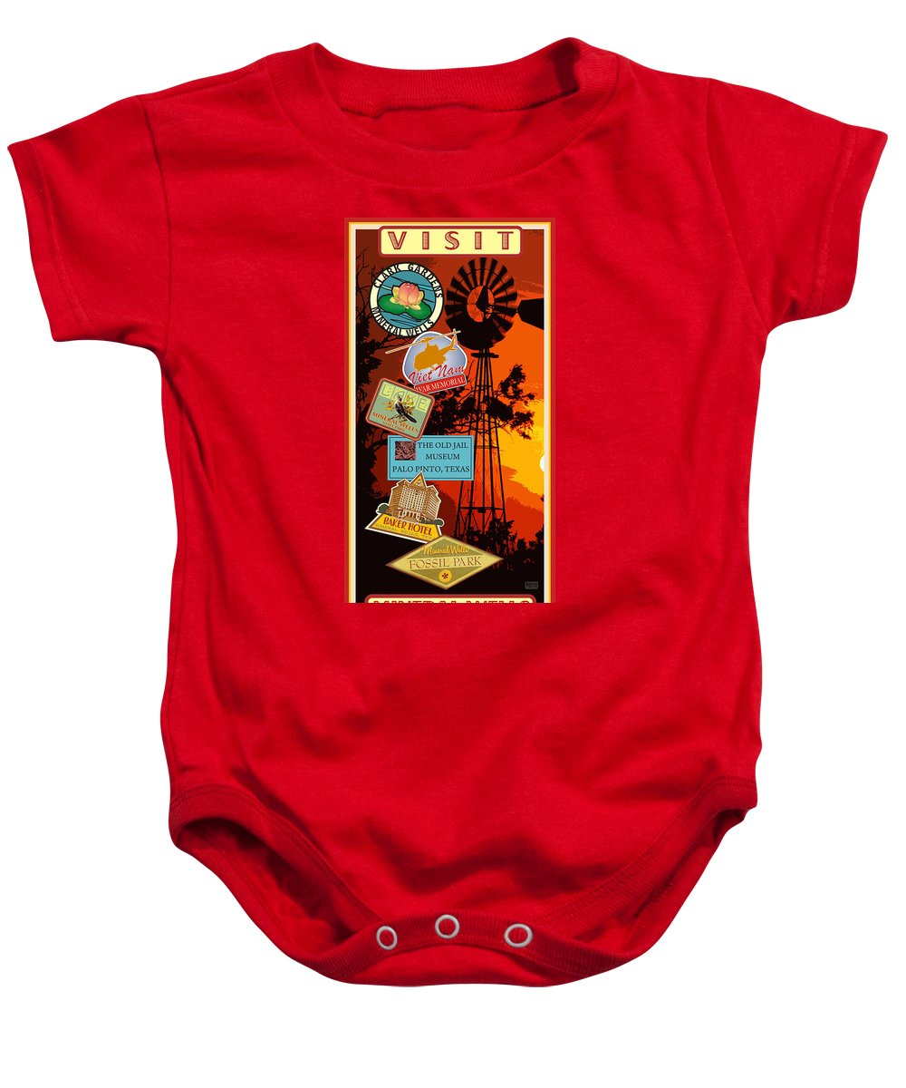 Mineral Wells Baby Onesie featuring the digital art Visit Mineral Wells by Jim Sanders