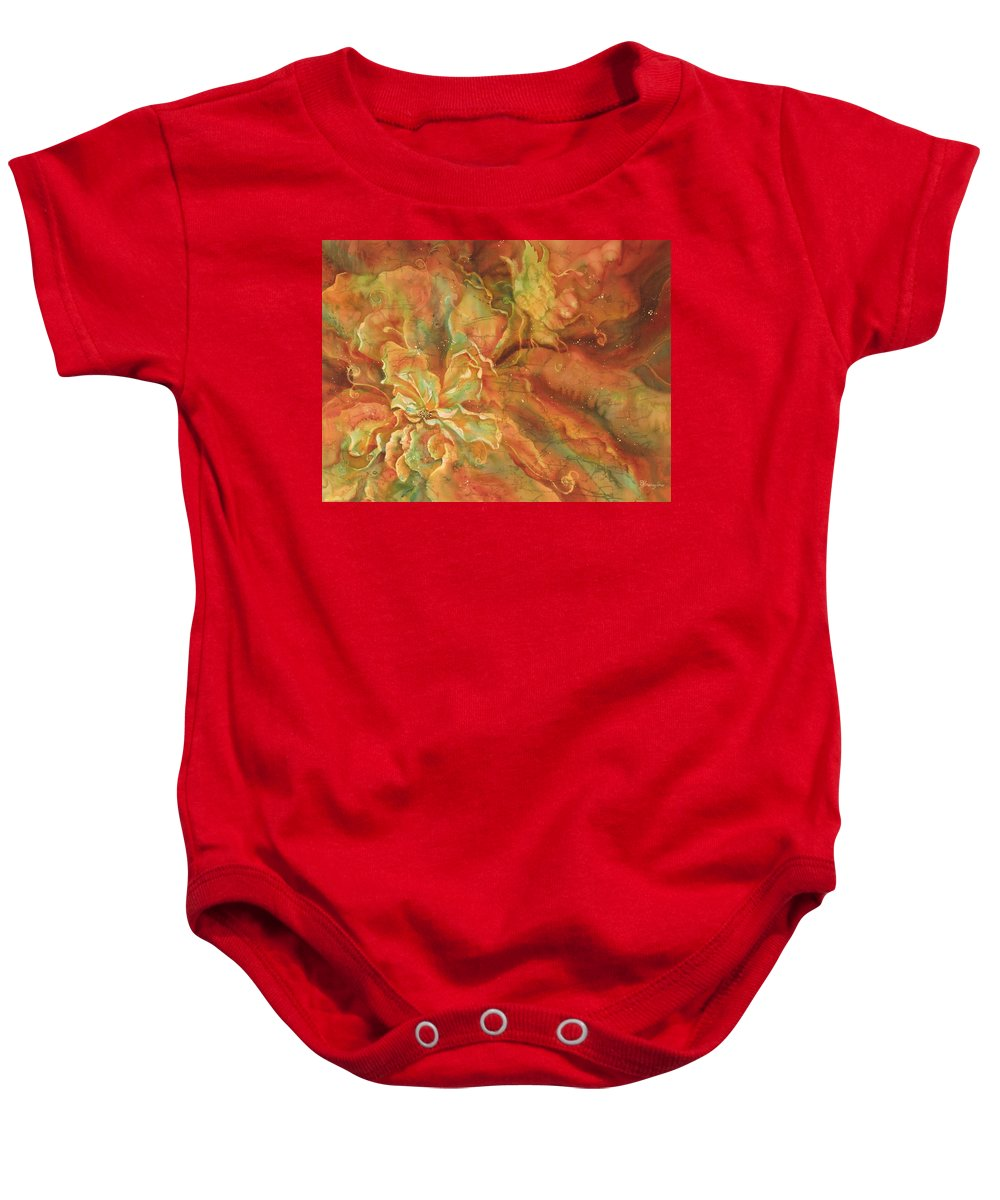 Silk Baby Onesie featuring the painting Walter Investigates A New Flower by Deborah Younglao
