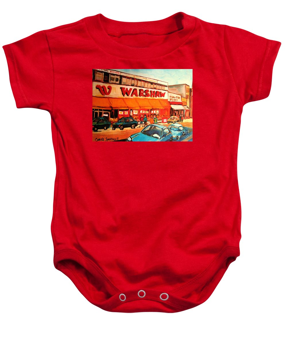 Warshaw's Fruit Market Baby Onesie featuring the painting Warshaw's Bargain Fruit Store Montreal Street Scenes Paintings City Scene Art Carole Spandau by Carole Spandau