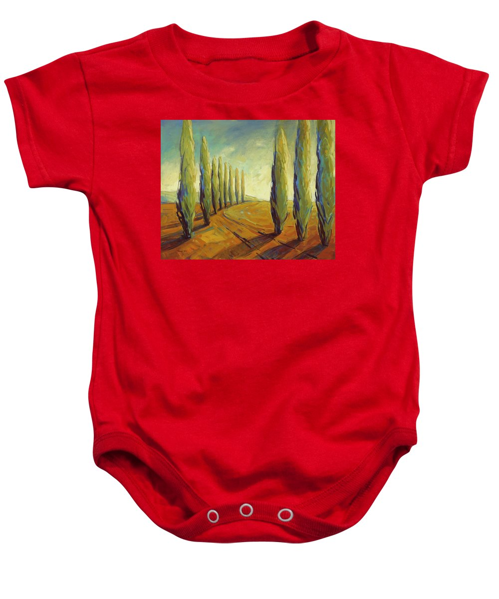 Cypress Baby Onesie featuring the painting Where Evening Begins 1 by Konnie Kim