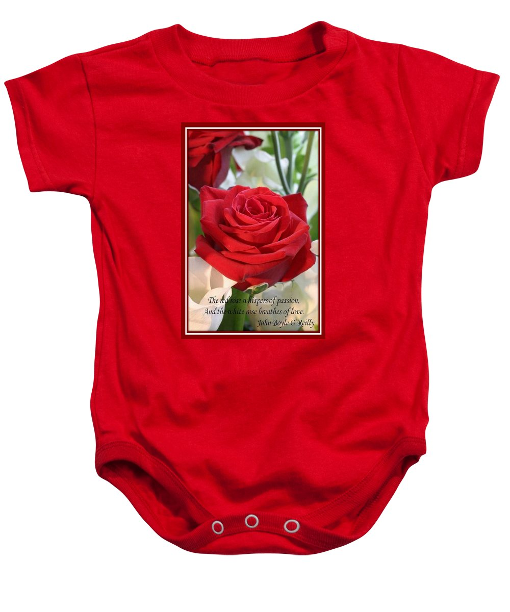 Rose Baby Onesie featuring the photograph Whispers Of Passion And Love Red Rose Greeting Card by Taiche Acrylic Art