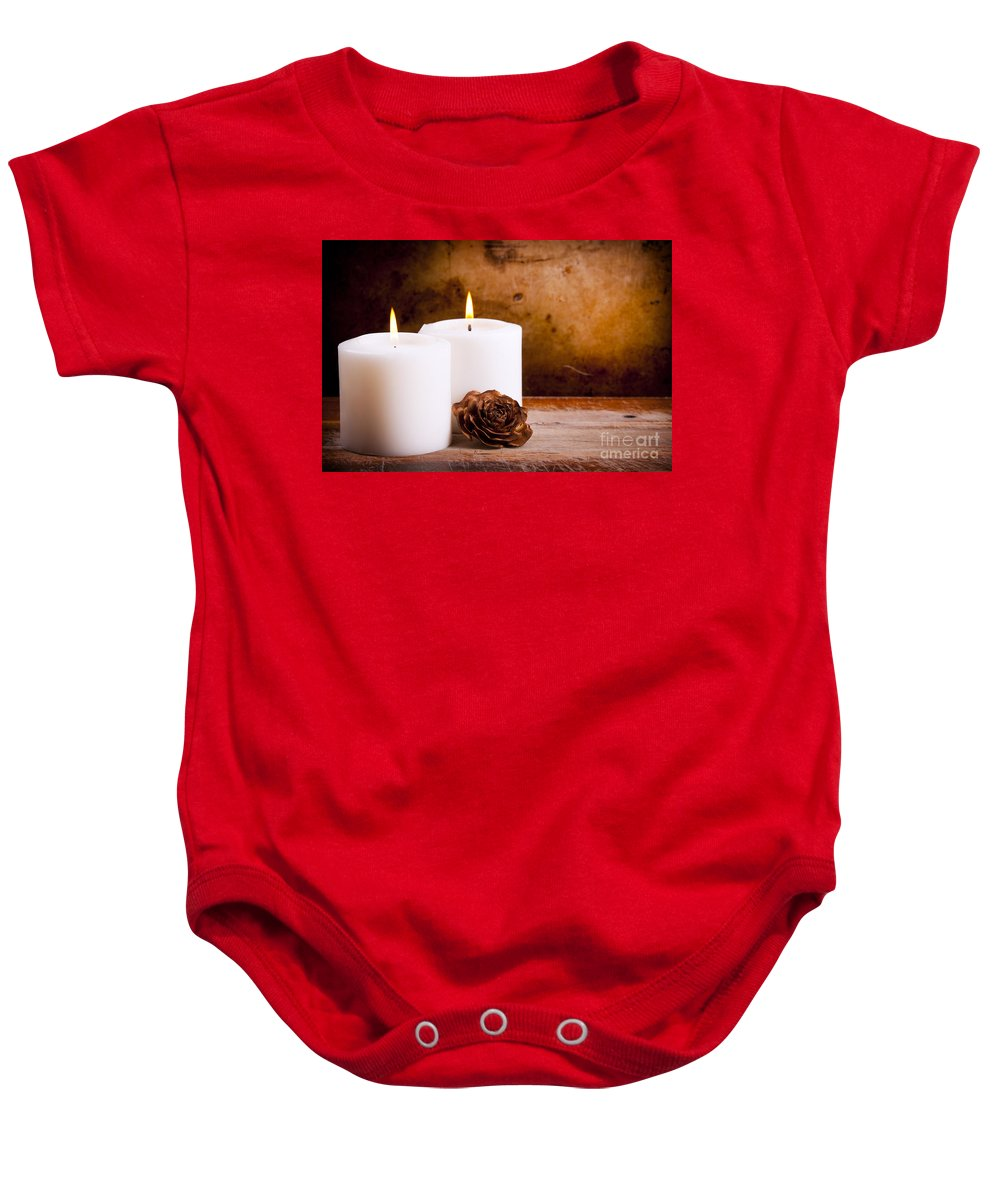 Vintage Baby Onesie featuring the photograph White Candles With Rose by Tim Hester