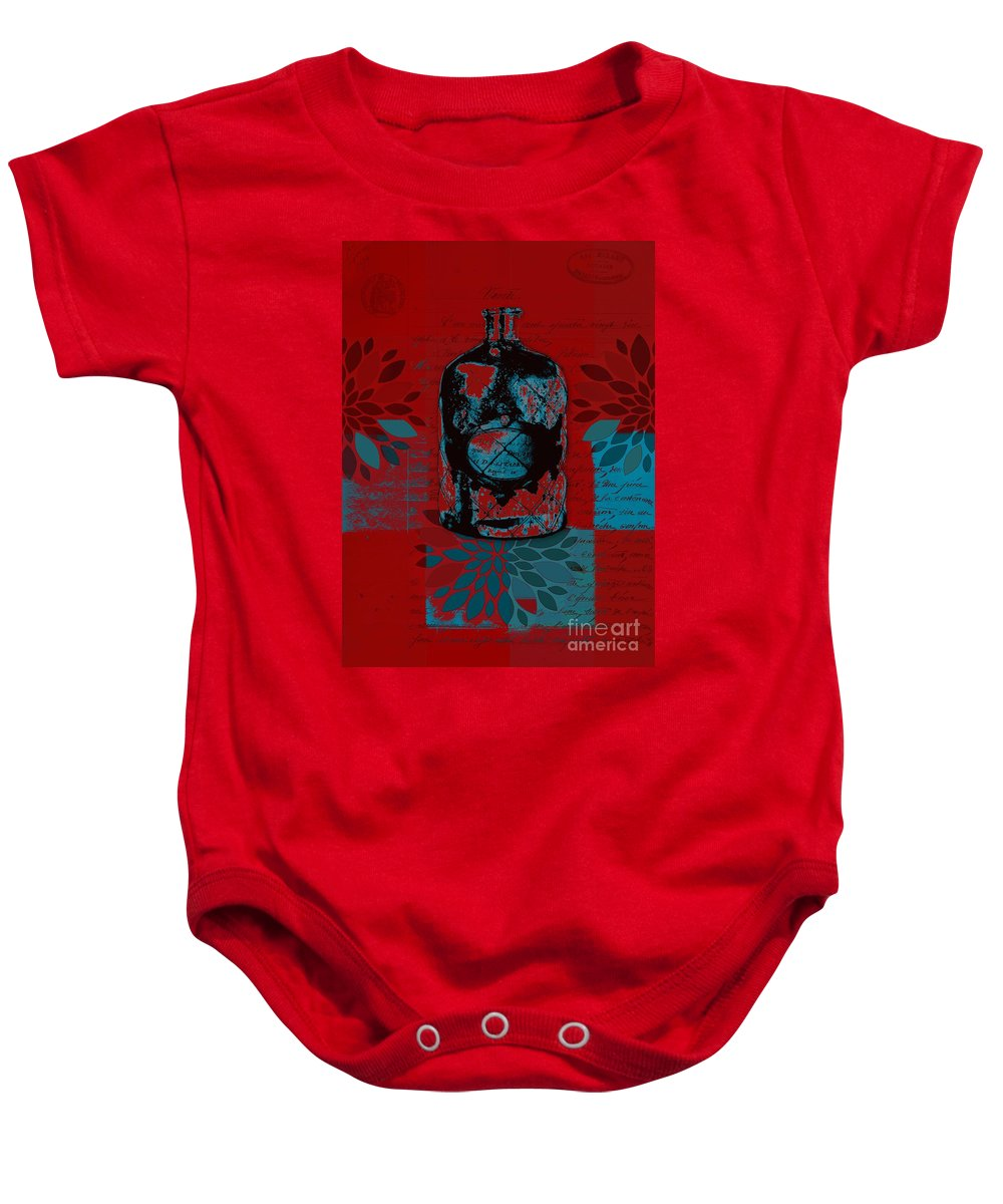 Red Baby Onesie featuring the digital art Wild Still Life - 0101a - Red by Variance Collections
