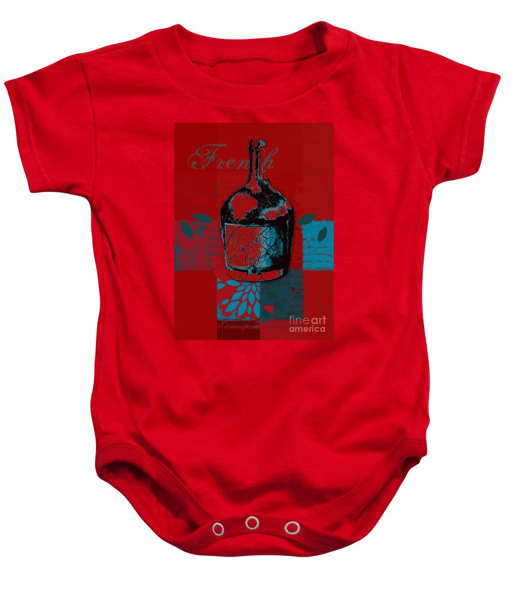 Red Baby Onesie featuring the digital art Wild Still Life - 0102b - Red by Variance Collections