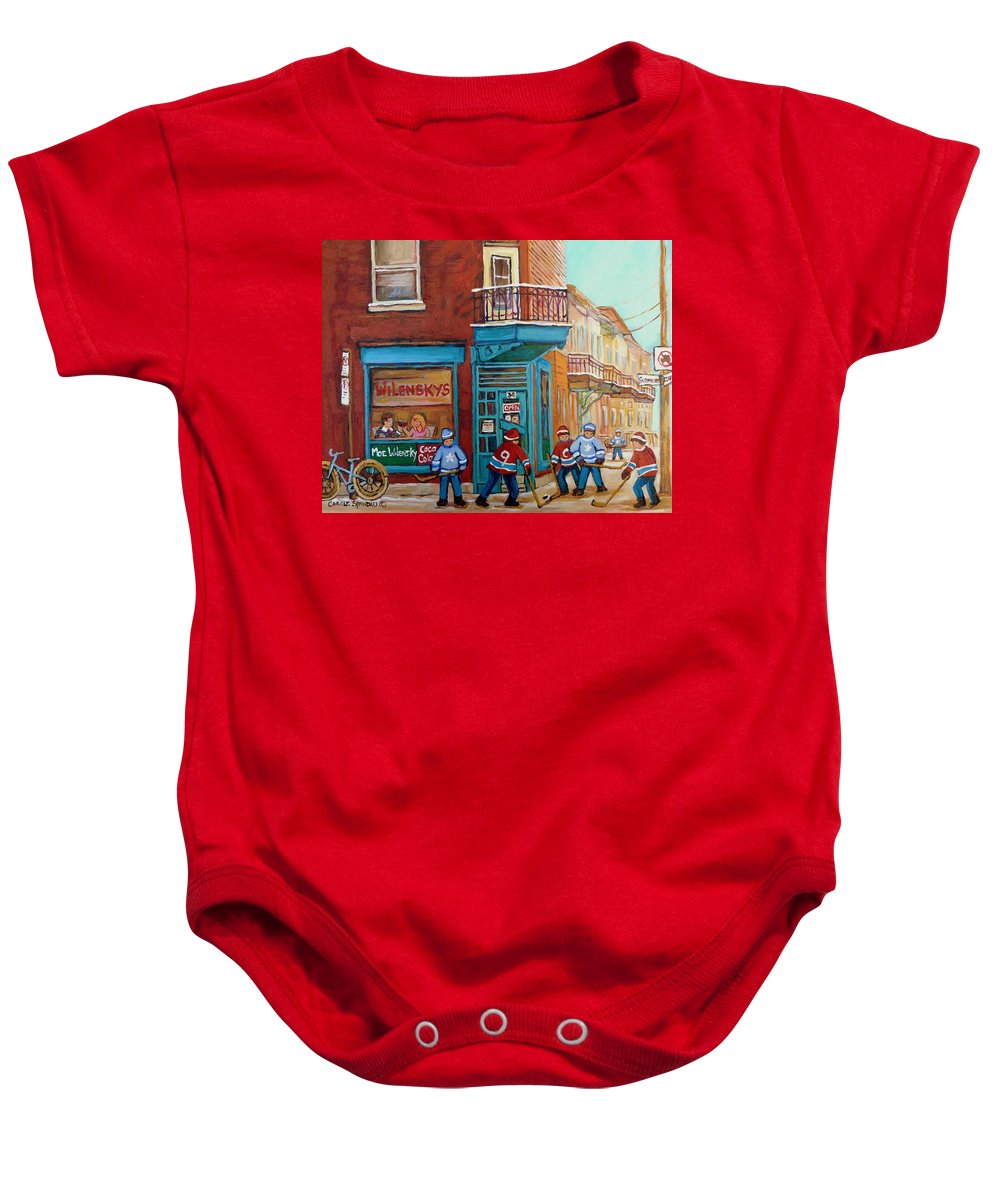 Wilensky's Montreal Baby Onesie featuring the painting Wilensky Montreal-fairmount And Clark-montreal City Scene Painting by Carole Spandau