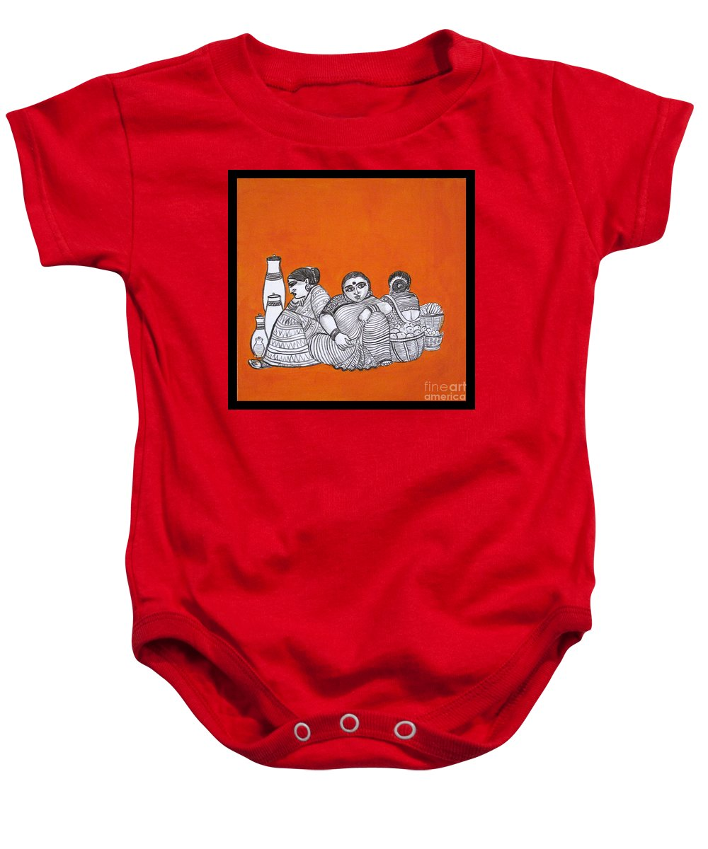 Women Hawkers-from Imagination Baby Onesie featuring the painting Women Vendors In Market by Asha Sudhaker Shenoy