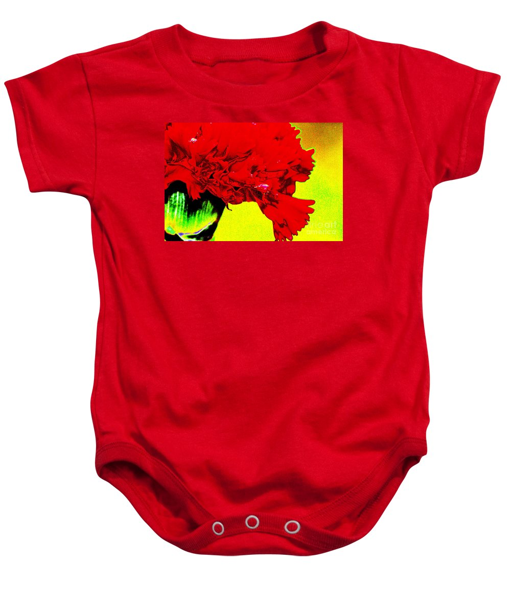 Abstract Baby Onesie featuring the digital art Wow Carnation by Carol Lynch