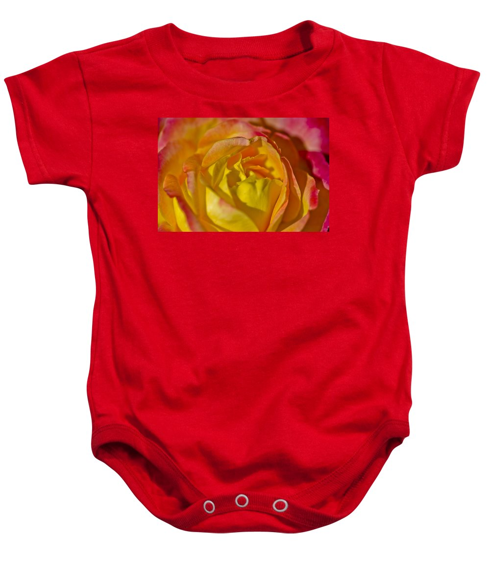 Rose Baby Onesie featuring the photograph Yellow Rose Up Close by David Berg