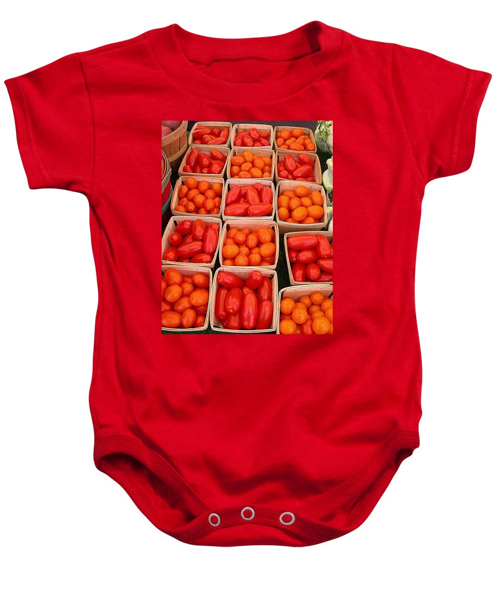 Tomato Harvest Baby Onesie featuring the photograph You Say Tomato by Cynthia Wallentine