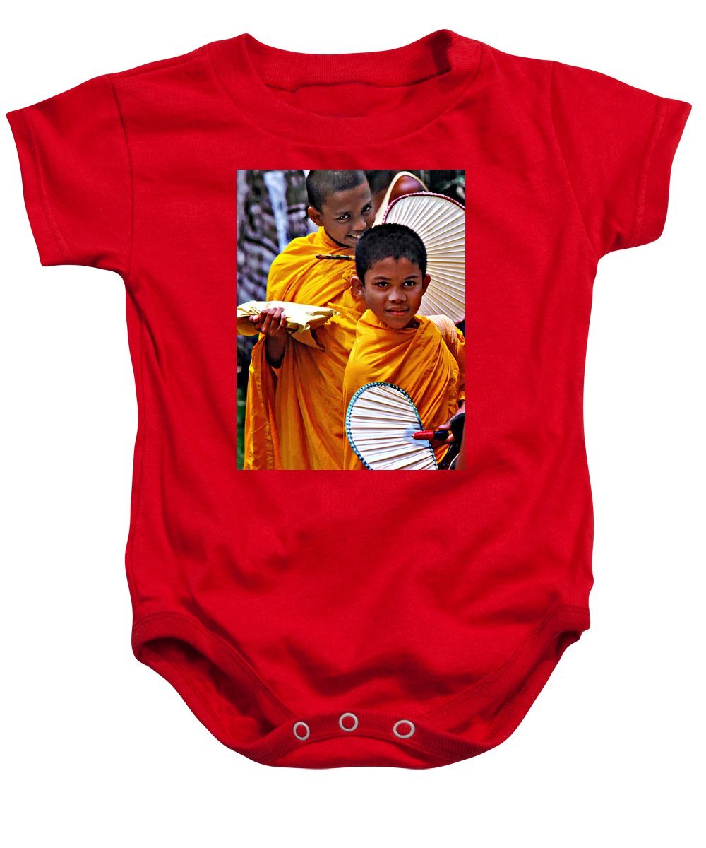 Buddhism Baby Onesie featuring the photograph Young Monks by Steve Harrington