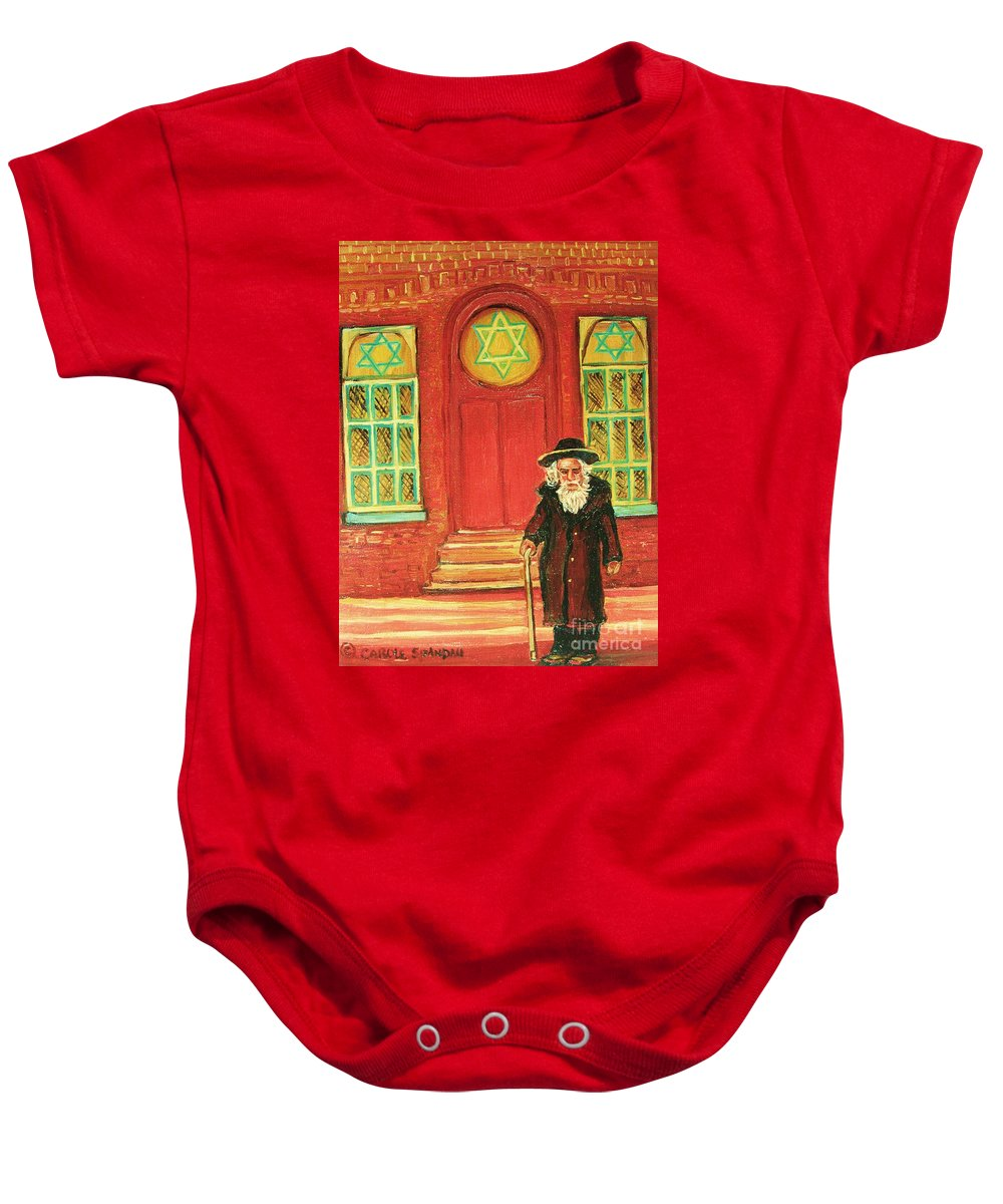 Synagogues Baby Onesie featuring the painting Zaida's Shul by Carole Spandau