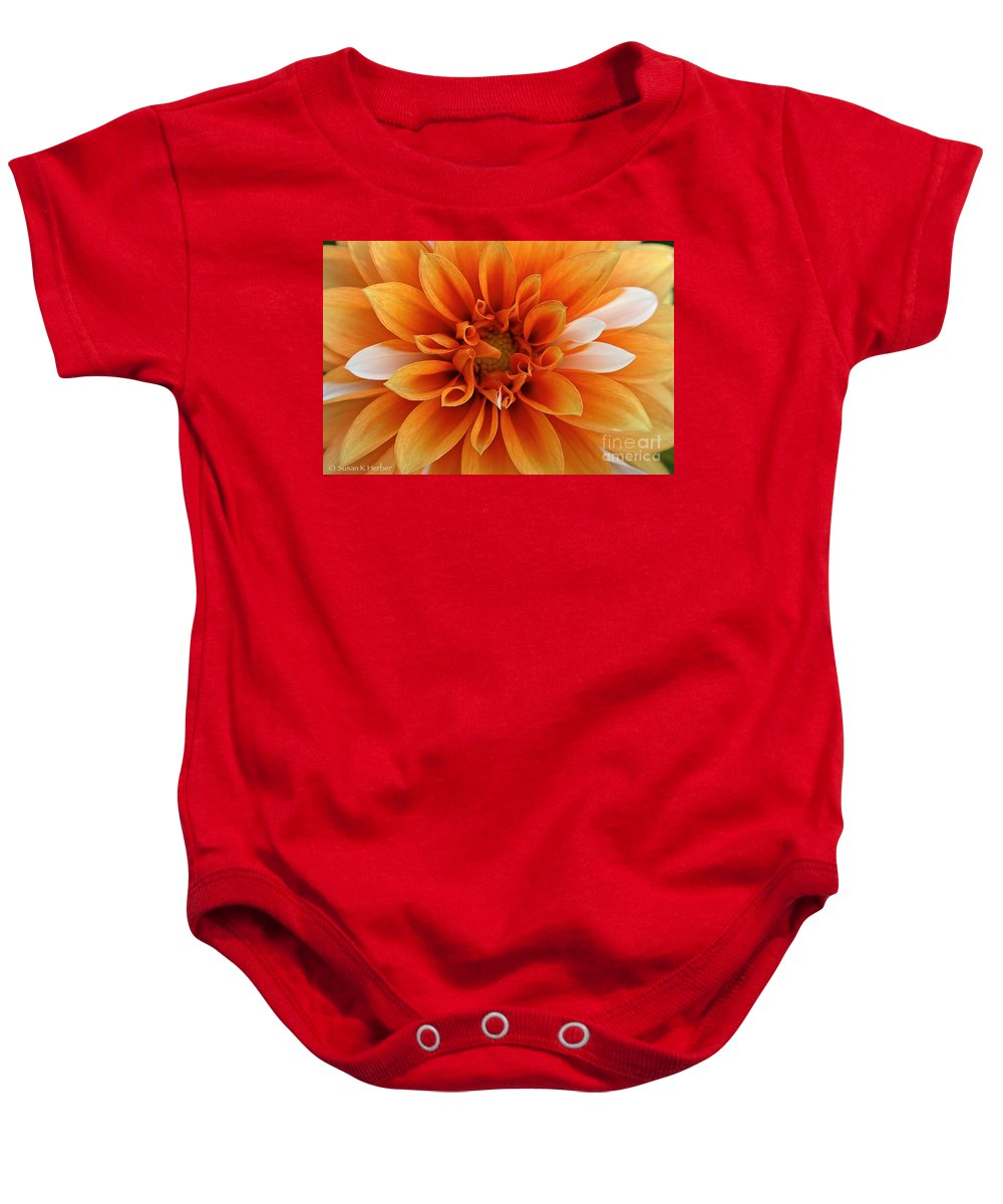 Landscape Baby Onesie featuring the photograph Peach Petals by Susan Herber
