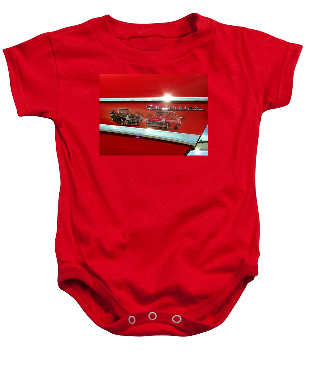 1957 Baby Onesie featuring the photograph 1957 Chevrolet by Dennis Pintoski