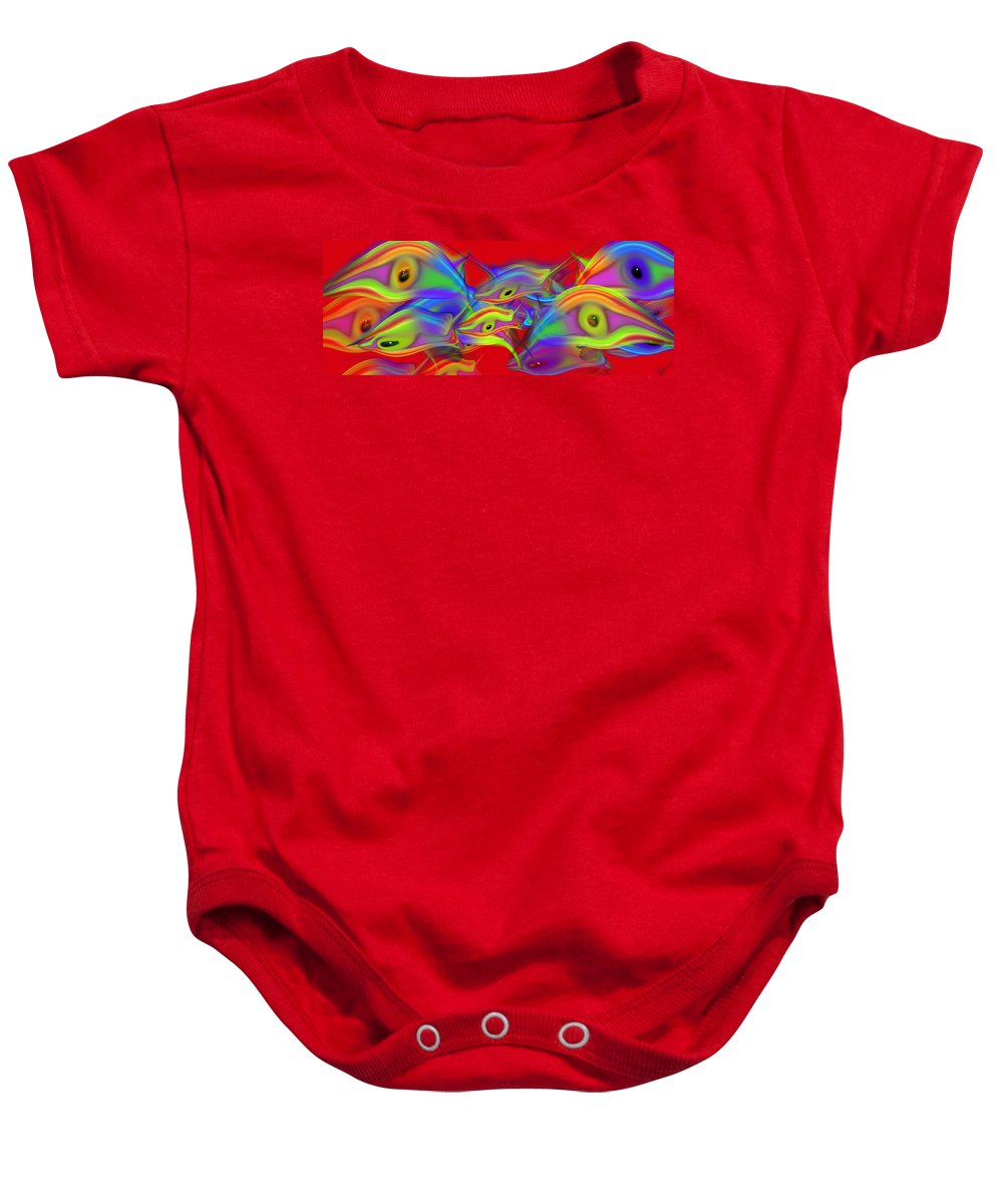 Red Baby Onesie featuring the painting Red Sea by Charles Stuart