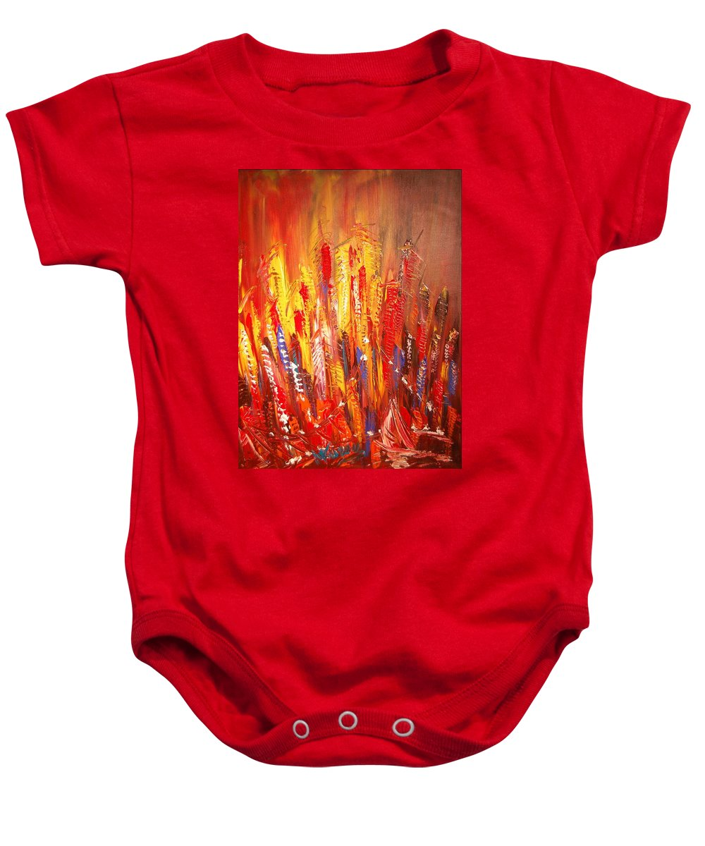 Music Jazz Piano Red Landscape Framed Prints Baby Onesie featuring the mixed media New York by Mark Kazav