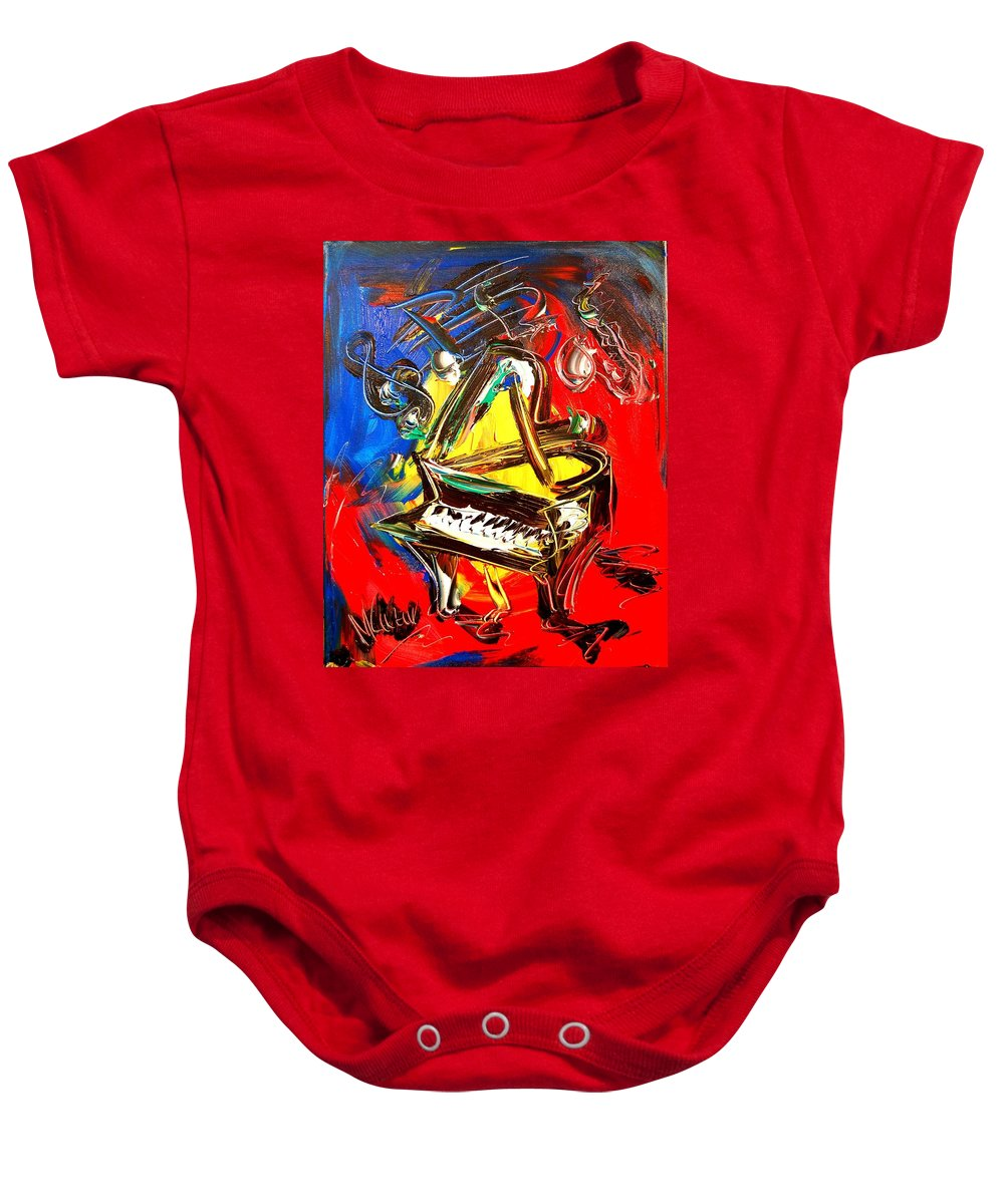Baby Onesie featuring the painting Piano by Mark Kazav