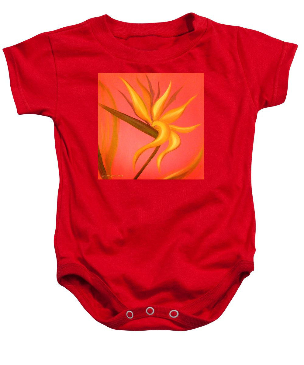 Flower Baby Onesie featuring the painting Bird Of Paradise by Gina De Gorna