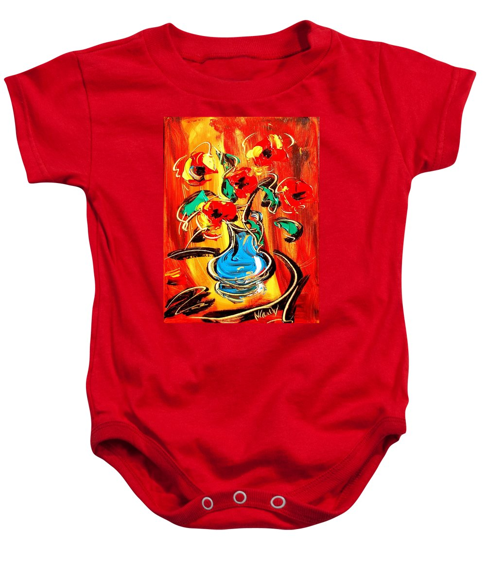 Music Jazz Piano Red Landscape Framed Prints Baby Onesie featuring the mixed media Flowers by Mark Kazav